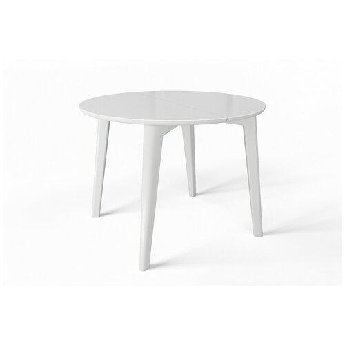 EVITA/Стол оскар стекло белое,ноги белые/стол на четырёх ногах/стол круглый/стол раздвижной/стол светлый/стол для кухни/стеклянная столешница/стол обеденный/стол белый