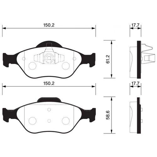 Дисковые тормозные колодки передние SANGSIN BRAKE SP1565 для Ford, Mazda (4 шт.)