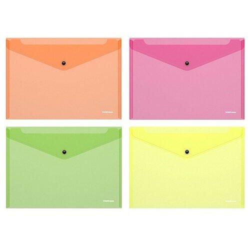 Папка-конверт на кнопке пластиковая Fizzy Neon, полупрозрачная, A4, ассорти недорого