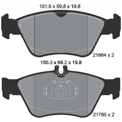 Дисковые тормозные колодки передние Textar 2166404 для Mercedes-Benz SLK-class, Mercedes-Benz CLK-class, Mercedes-Benz E-class, Mercedes-Benz C-class (4 шт.)