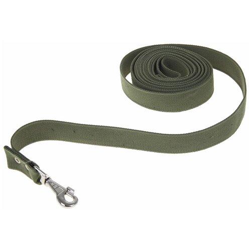 Поводок брезентовый для собак 5 м х 3,5 см, тёмно-зелёный поводок брезентовый зоомарк ширина 2 5 см длина 120 см