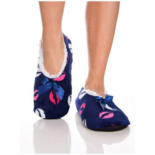 Плюшевые домашние носки на нескользящей подошве, внутренний подклад из искусственного меха, принт цветные губы - поцелуйчики, синий цвет, размер 35-38