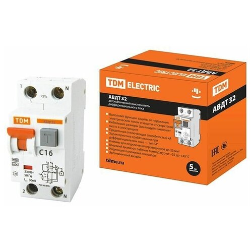 Фото - Выключатель дифференциальный автоматич. АВДТ-32 C16 30мА тип А TDM (SQ0202-0030) автоматический выключатель дифференциального тока tdm electric sq0202 0060 авдт 63м c16 30 ма 4 5 ка
