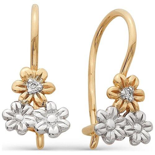 АЛЬКОР Серьги Цветы с бриллиантами из красного золота 21131-100 алькор серьги цветы с 2 бриллиантами из красного золота 23613 100