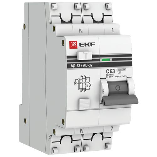Фото - Дифференциальный автомат EKF АД-32 2П 100 мА C 4.5 кА AC электронный 63 А дифференциальный автомат ekf ад 4 4п 30 ма c 4 5 ка ac электронный 40 а