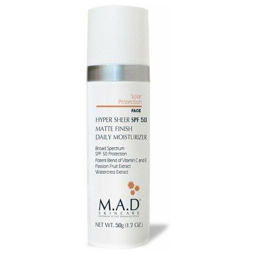 Купить M.A.D Skincare Крем- основа под макияж Hyper Sheer SPF 50 Matte Finish Daily Moisturizer 50 г бежевый