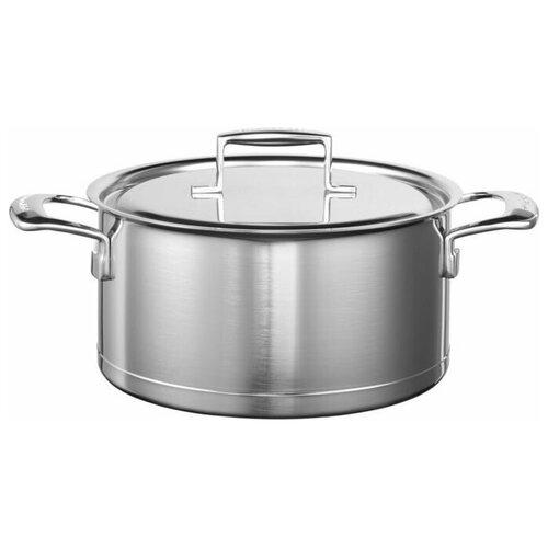 kitchenaid чугунная кастрюля 3 77 л 24 см черная kcpi40crob kitchenaid Кастрюля KitchenAid KC2T60LCST, 5.68 л, серебристый