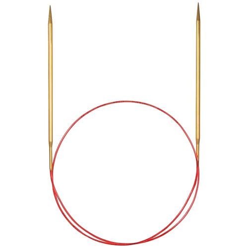 Купить Спицы ADDI круговые с удлиненным кончиком 755-7, диаметр 3.5 мм, длина 60 см, золотистый/красный