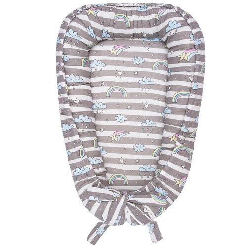 Фото - Позиционер для сна Amarobaby Little Baby серый/радуга позиционер для сна amarobaby little baby серый белый мороженое