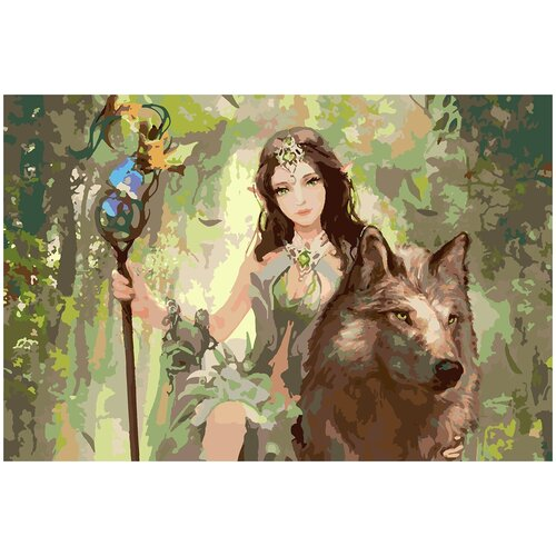 Купить Картина по номерам Девушка и волк, 80 х 100 см, Красиво Красим, Картины по номерам и контурам