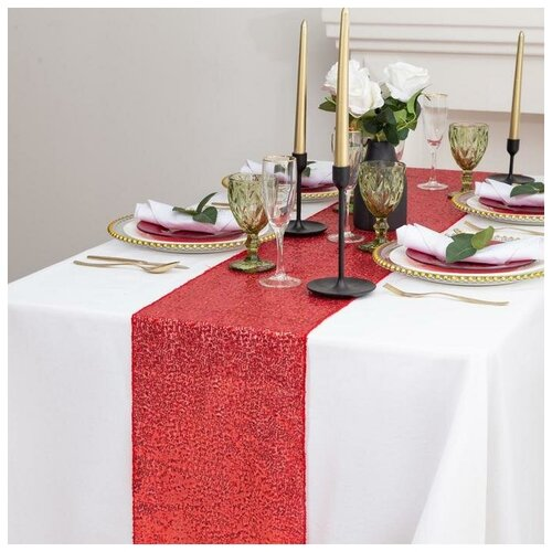 Дорожка с пайетками на стол, цв.красный, 30*300 см 5109434