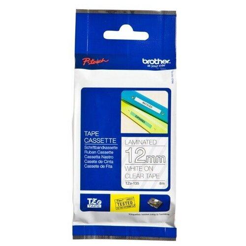 Фото - TZe-135 Label Roll лента для наклеек Brother, 8 м, белый на прозрачном лента m21 250 430 черный на прозрачном