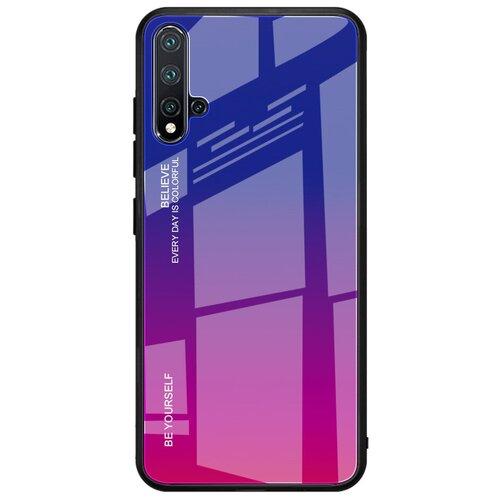 Чехол-бампер MyPads для iPhone 5 / 5S/ SE/ 5SE (Айфон 5/ 5С/ 5СЕ) стеклянный из закаленного стекла с эффектом градиент зеркальный блестящий переливающийся фиолетовый