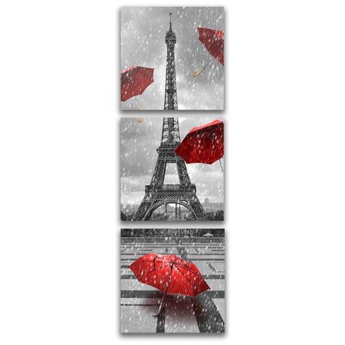 Комплект картин на холсте LOFTime 3 шт 30Х30 эйфилева башня красные зонты К-033-3030