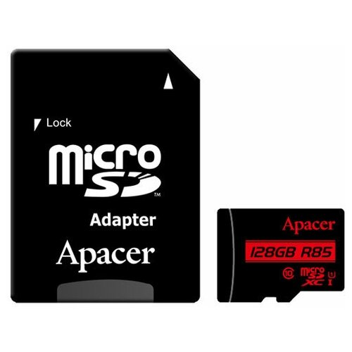 Фото - Карта памяти microSDXC Apacer 128 ГБ Class 10 UHS-I U1 R85 Class 10 с SD адаптером карта памяти microsdxc apacer 64 гб class 10 uhs i u1