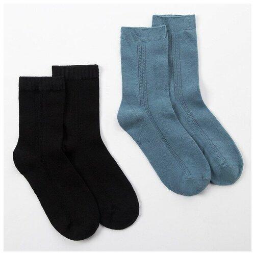 Купить Носки Minaku комплект 2 пары размер 22-24 см (35-38), черный/синий