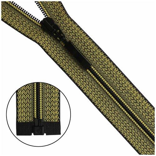 Молния витая Тип 6 1 замок 50см декоративная тесьма меланж Arta (D504M желто-черный)