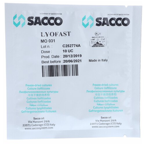Закваска мезофильная для сыра Lyofast MO 031 10 UC (на 500-2000л, Sacco) eight sister 031 500