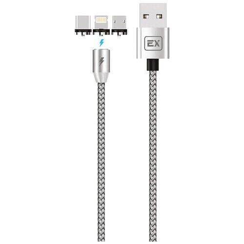 Кабель Multi USB-Lightning+Micro+Type-C Exployd Magnetic Classic EX-K-789 Silver 1m дата кабель атом usb a 2 0 usb type c usb b micro lightning 1m silver