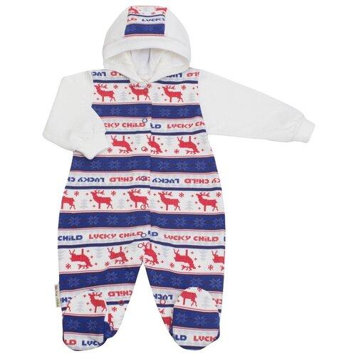 Купить Комбинезон Lucky Child Скандинавия размер 56-62, синий/белый, Комбинезоны
