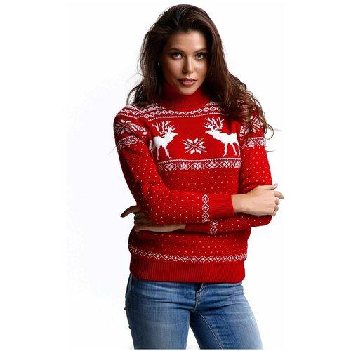 Шерстяной свитер, классический скандинавский орнамент с Оленями и снежинками, натуральная шерсть, красный, белый цвет, размер S