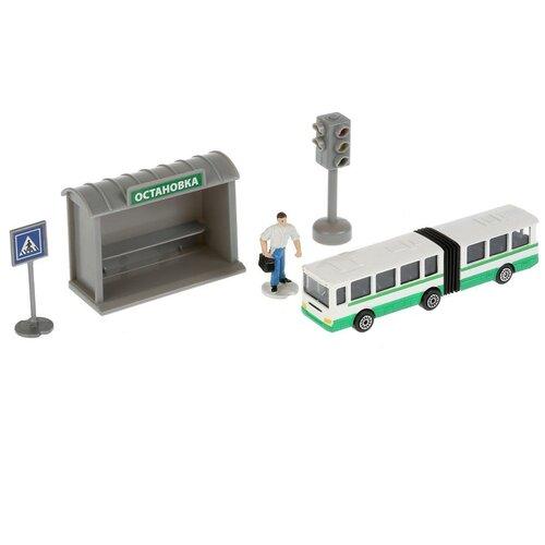 Фото - Набор Технопарк Автобус с остановкой и аксессуарами SB-16-18-B автобус технопарк рейсовый sb 16 88 blc 7 5 см желтый