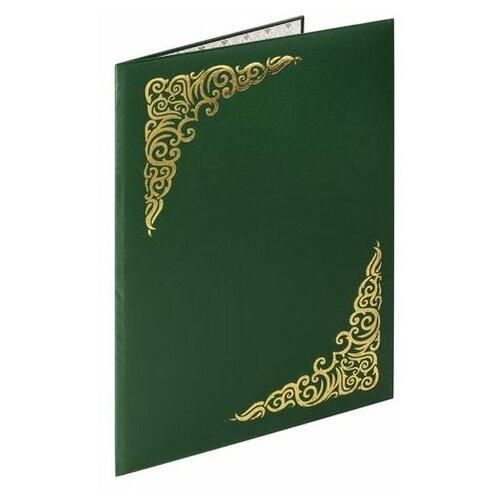 Купить Папка адресная бумвинил с виньеткой, формат А4, зеленая, индивидуальная упаковка, STAFF, 129580, (5 шт.), Файлы и папки