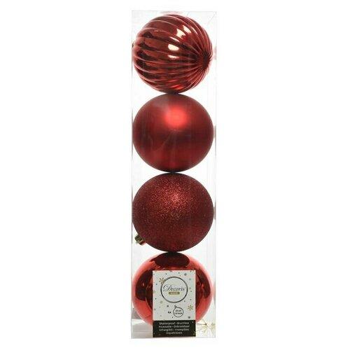 Фото - Набор пластиковых шаров новогодняя гармония, красный, 100 мм, упаковка, 4 шт., Kaemingk набор пластиковых шаров new year mix красный бордовый 60 мм упаковка 12 шт kaemingk 023573