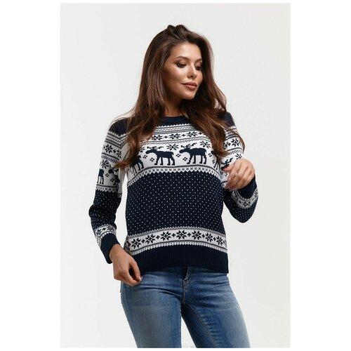 Шерстяной женский свитер, классический скандинавский орнамент с Оленями и снежинками, натуральная шерсть, сине-белый цвет, размер S