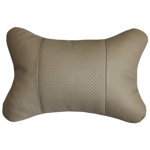 Подушка на подголовник автомобильного кресла в машину MATEX REGULAR бежевый, поддержка головы, экокожа, 30х20 см