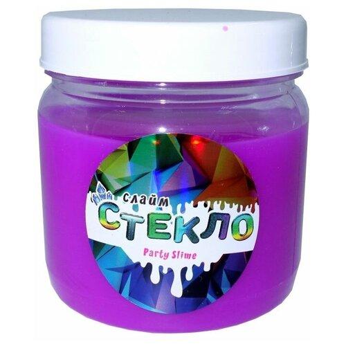 Слайм Стекло серия Party Slime, фиолетовый неон, 400 гр, Слайм Стекло