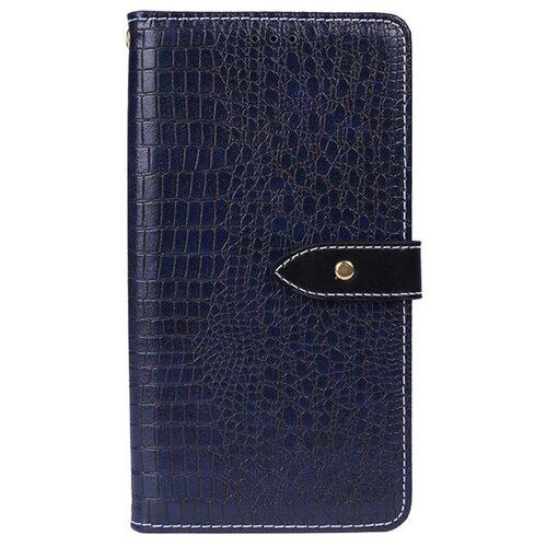 Чехол-книжка MyPads для LG G6 mini / LG Q6 / LG Q6 Plus / LG Q6a M700 с фактурной прошивкой рельефа кожи крокодила с застежкой и визитницей синий