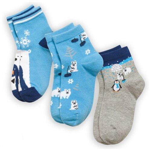 Купить Носки Pelican комплект 3 пары размер 20-22, голубой/серый
