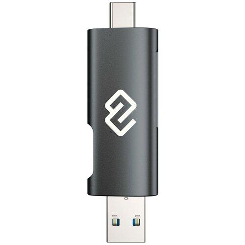 Устройство чтения карт памяти USB 2.0/Type C Digma CR-СU2520-G, серый