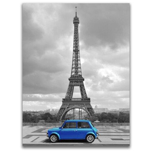 Картина на холсте LOFTime 30х40 эйфилева башня синяя машина К-041-3030