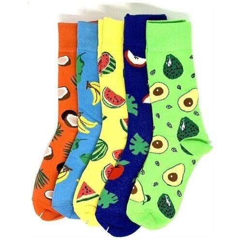 Комплект Высокие носки Amigobs с принтом/рисунком унисекс 5 штук, размер 36-41