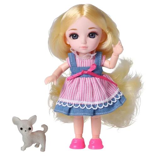 Кукла шарнирная Funky Toys Малышка Лили, блондинка, с собачкой, 16 см 72005