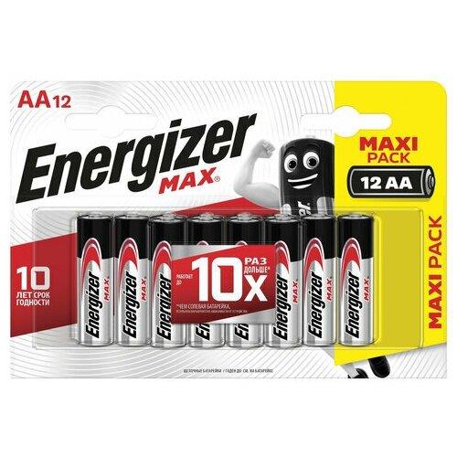 Фото - Батарейки комплект 12 шт., ENERGIZER Max, AA (LR06, 15А), алкалиновые, пальчиковые, блистер, E301531401 батарейки pkcell aa пальчиковые 12 шт уп