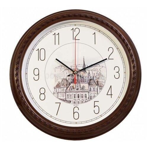 Часы настенные аналоговые Бюрократ WallC-R63P, диаметр 29 см, коричневый