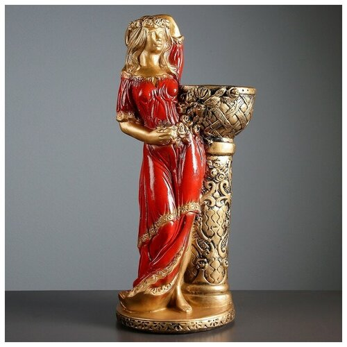 Фигура с кашпо Девушка у колонны бронза, цвет красный, 64 см фигура ангел девушка у колонны состаренный 17х22х43см 1805232