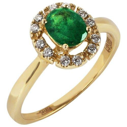Yvel Кольцо с изумрудом и бриллиантами из жёлтого золота 00451370, размер 17 sargon jewelry кольцо с бриллиантами и изумрудом из жёлтого золота r1311 2010 размер 17 5