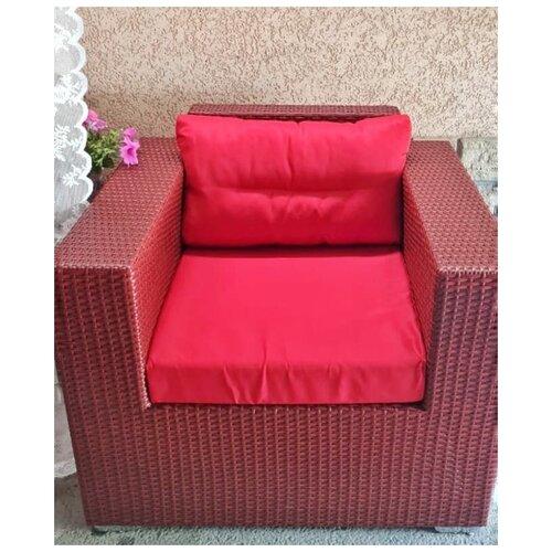 Кресло Престиж, плетеное из искусственного ротанга красное дерево с подушками красного цвета