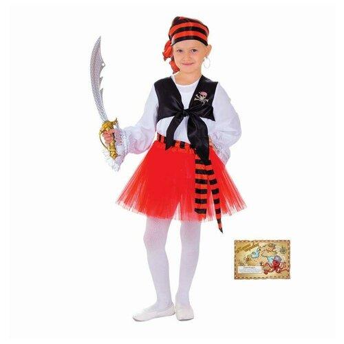 Купить Костюм Пиратка блузка, юбка, бандана, клипса, наглазник, карта, р.28 рост 104 5193413, Страна Карнавалия, Карнавальные костюмы
