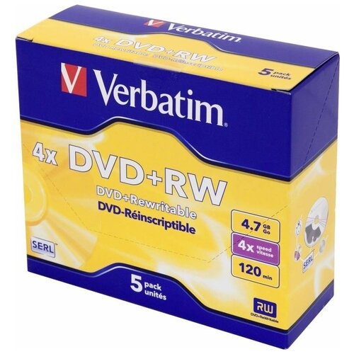 Диск DVD+RW Verbatim 4.7Gb 4x Jewel case (5 штук) (43229)