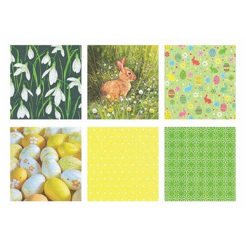Салфетки бумажные для декупажа Love2art. Весенний зайчик, набор №1218-15, 12 штук (арт. SDD)
