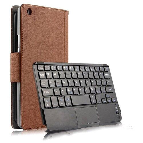 Клавиатура Mypads для HUAWEI MediaPad M5 Lite 8 съёмная беспроводная Bluetooth в комплекте c кожаным чехлом и пластиковыми наклейками с русскими буквами