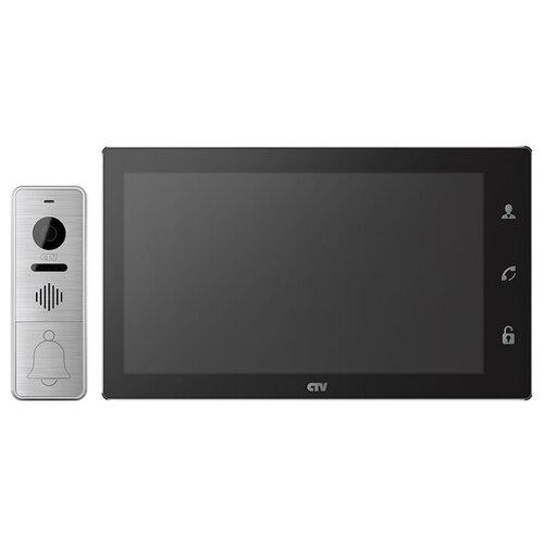 Комплектная дверная станция (домофон) CTV CTV-DP4106AHD серебро (дверная станция) черный (домофон)