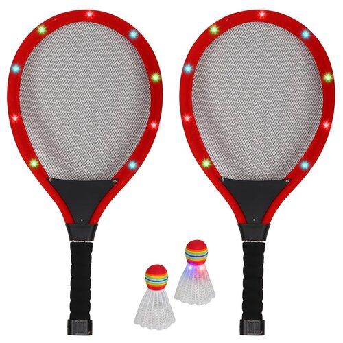 Бадминтон светящийся на батарейках, волан светящийся на батарейках, игровой набор детский для игры в бадминтон, для игры на улице, игра для двоих, активная игра, для детей, для игры в вечернее время, ракетки для бадминтона, воланчик для бадминтона, в комплекте две светящиеся ракетки и два волана, красный, в сетке 55х5х26 см