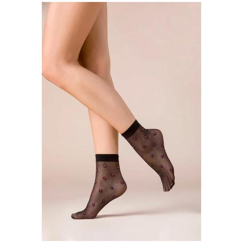Капроновые носки Gabriella Stars 529, размер One size, nero/pink