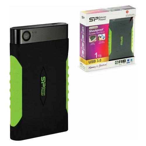 """Внешний жесткий диск SILICON POWER Armor A15 1 TB 2.5"""" USB 3.0 ударостойкий черный/зеленый SP010TBPHDA15 SP10TBPHDA15S3K 1 шт."""